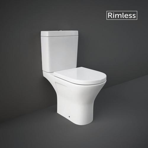 RAK Resort Mini Close Coupled Open Back Toilet & Wrapover Soft Close Seat