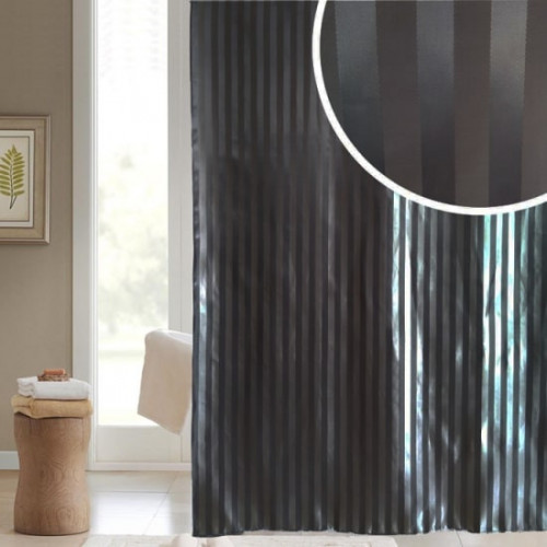 Stain Stripe Polyester Shower Curtain 1800mm x 1800mm - Slate