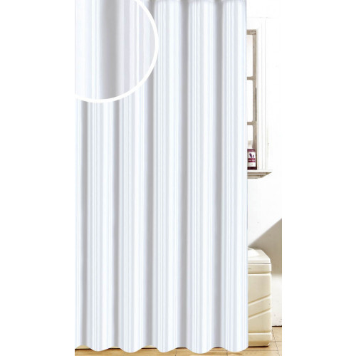 Stain Stripe Polyester Shower Curtain 1800mm X 1800mm - White