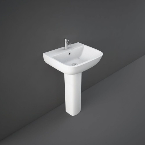 RAK Series 600 520mm Basin & Full Pedestal - 1 Tap Hole