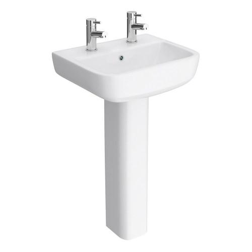 RAK Series 600 520mm Basin & Full Pedestal - 2 Tap Hole