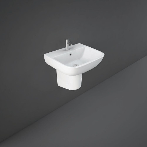 RAK Series 600 520mm Basin & Half Pedestal - 1 Tap Hole