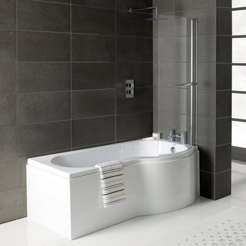 Solar P-Shape 1500mm Shower Bath, Front Panel & Deluxe Screen - Right Hand