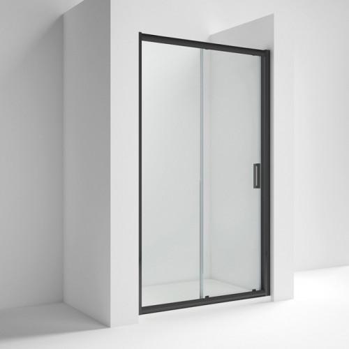 Pacific Matt Black 1200mm Single Sliding Shower Door