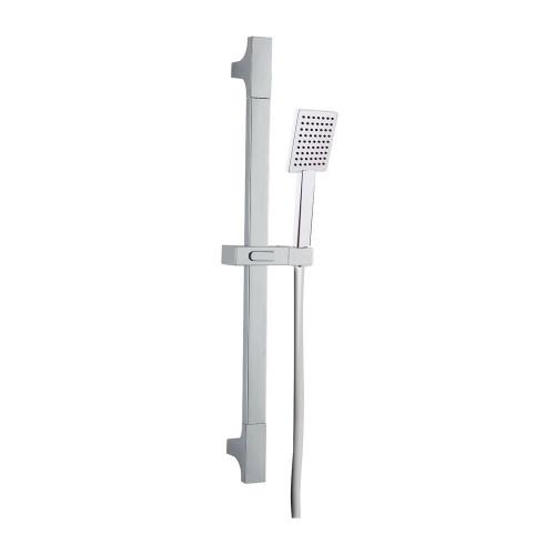 Square Slider Rail Kit with Flat Shower Head - Chrome