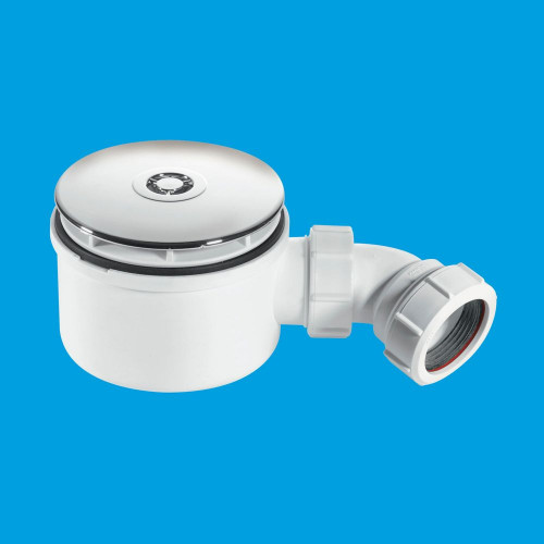 McAlpine 90mm Shallow Shower Trap - 70mm High - Chrome Plated Plastic Flange