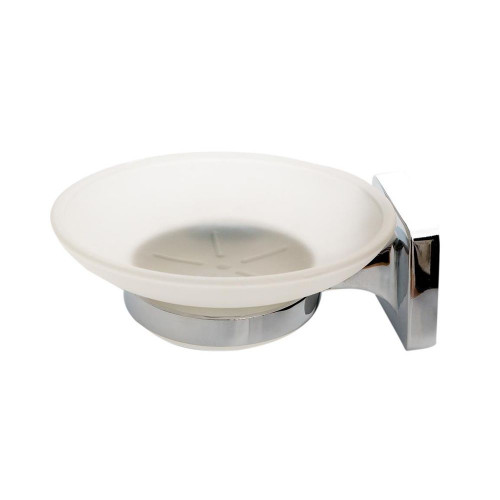 Verona Frosted Glass Soap Dish & Holder - Chrome