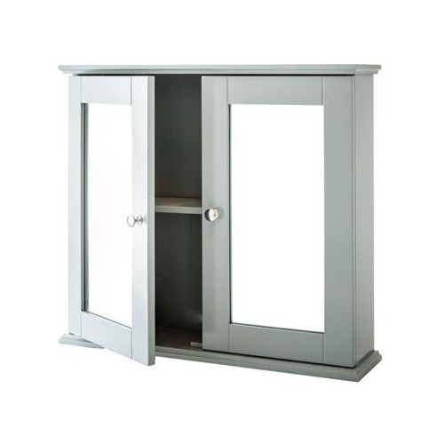 New England Grey Double Mirror Cabinet 600mm x 550mm