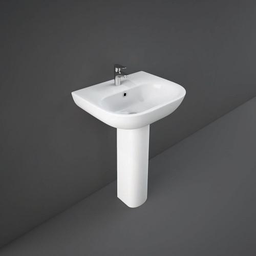 RAK Tonique 550mm Basin & Full Pedestal - 1 Tap Hole