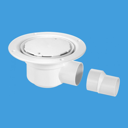McAlpine Two-Piece 50mm Water Seal Gully For Sheet Flooring - White Plastic