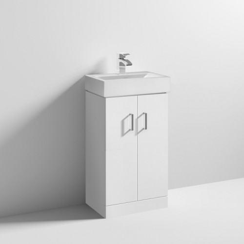 Cloakroom 450mm White Gloss Floor Standing Cabinet & Basin - 1 Tap Hole