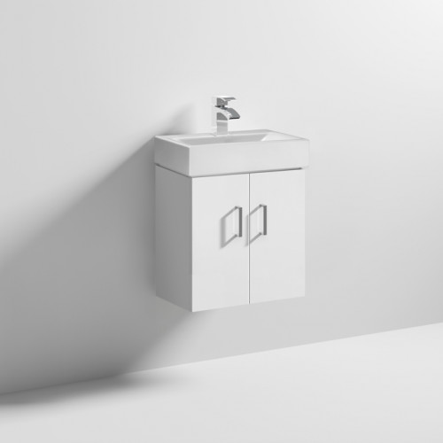 Cloakroom 450mm White Gloss Wall Hung Cabinet & Basin - 1 Tap Hole