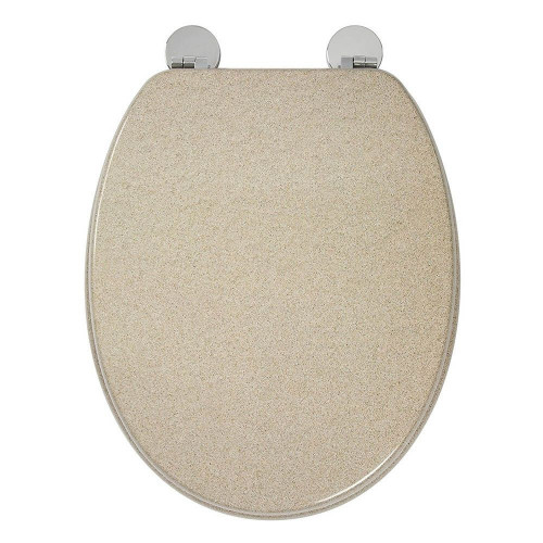 Dorney Moulded Wood Sandstone Toilet Seat with Chrome Hinges