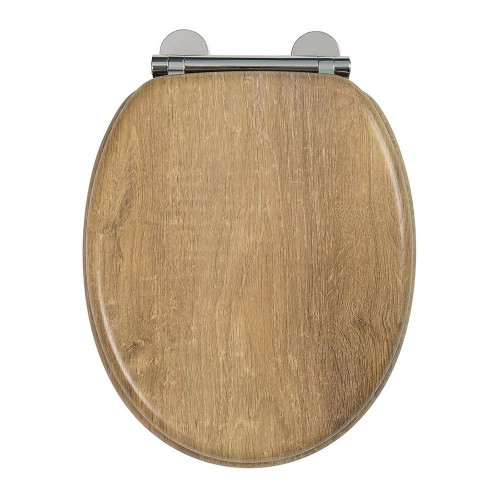 Ontario Moulded Wood Teak Toilet Seat with Chrome Hinges