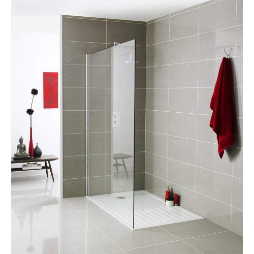 Ice Chrome 760mm x 1850mm Wetroom Screen & Support Bar