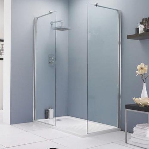 Hudson Reed Chrome 800mm x 1950mm Wetroom Screen (Shower Shield) & Support Bar