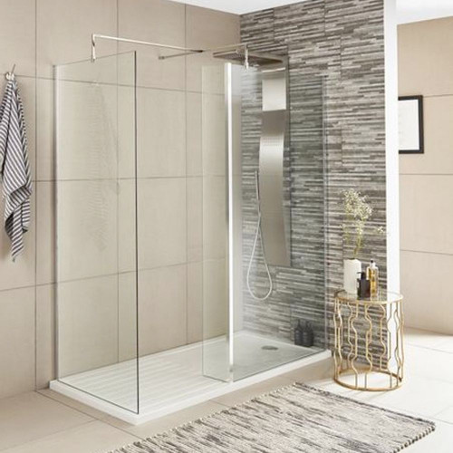 Nuie Chrome 800mm x 1850mm Wetroom Screen & Support Bar