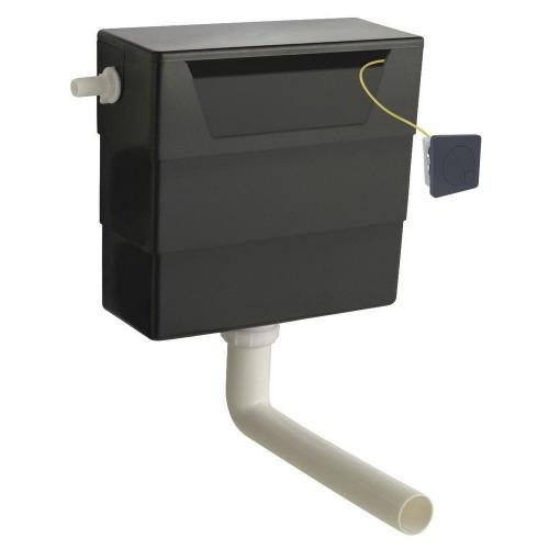 Hudson Reed Universal Access Cistern & Black Square Flush Plate