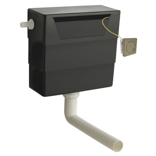 Hudson Reed Universal Access Cistern & Brushed Brass Square Flush Plate