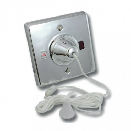 Varilight Square Ceiling 45A Pull Switch - Chrome